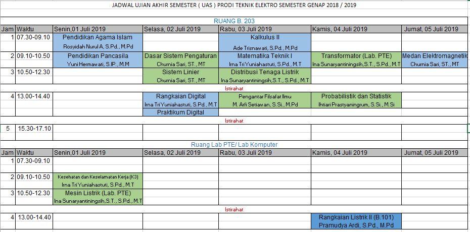 Jadwal UAS Semester Genap 2018 - 2019 Prodi Teknik Elektro