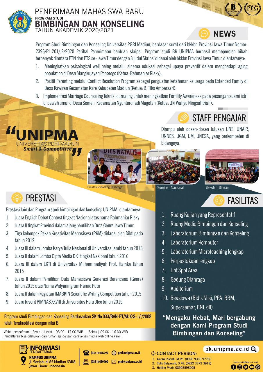 Penerimaan Mahasiswa Baru Tahun Akademik 2020/2021 Prodi Bimbingan dan Konseling